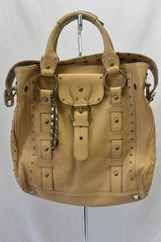 0d7e5290f5a8 Rare BETSEY JOHNSON Studded Grommets Leather Shoulder Bag Purse   BetseyJohnson  Bag