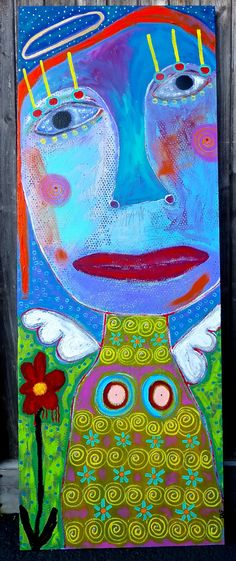 """Flower Angel"" original painting.  www.traceyannfinley.com"
