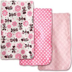 """Disney Minnie Mouse Receiving Blankets for Baby,3 Pack,100% Cotton,30""""x30"""""""