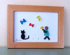 """Piedra y cristal arte - marco cuadro Original """"Besos de mariposa"""" 5 """"x 7"""" marco de madera"""