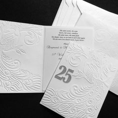 25th Wedding Anniversary Invitations - Peacock embossed card