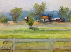 Farm by the River by Judy Mudd Watercolor ~ 8 x 10
