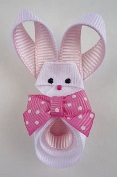 Easter Bunny Hair-clip Ribbon Sculpture by TakeABowHandcrafts Ribbon Hair Clips, Hair Ribbons, Ribbon Art, Diy Hair Bows, Diy Bow, Diy Ribbon, Ribbon Crafts, Ribbon Bows, Grosgrain Ribbon