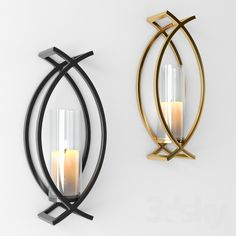 models: Other decorative objects - decorative candle Wall Mounted Candle Holders, Candle Holder Decor, Candle Wall Sconces, Modern Candles, Living Room Tv Unit Designs, Wrought Iron Decor, Candle Stand, 3d Models, Home Room Design