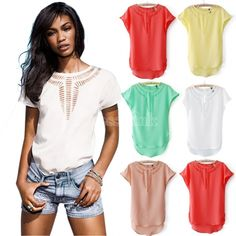 Women's Slim Front Hollow Out Chiffon Blouse Vintage O-neck Shirt Blouse Batwing Sleeve