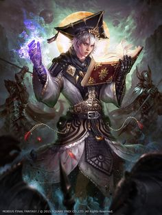 Image from fantasy and syfy.NSFW — cyrail: Mobius Final Fantasy – Scholar by. Mobius Final Fantasy, Final Fantasy Art, Fantasy Male, Fantasy World, Character Portraits, Character Art, Character Concept, Concept Art, Fantasy Wizard