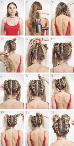 Tutorial: Space Buns - Festival Hair - Beauty tips - Frisuren Hair Dos, Hair Hacks, Hair Inspiration, Cool Hairstyles, Easy Braided Hairstyles, Hairstyles For Medium Length Hair, Easy Hairstyles For Work, Grunge Hairstyles, Wedding Hairstyles