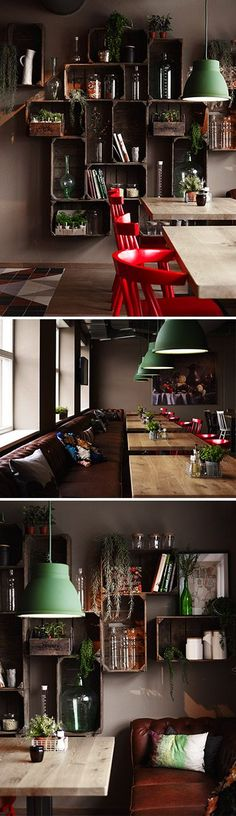 Shelving in old wooden crates, retro industrial light fittings and red Eames chairs...pulls together brilliantly! -