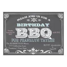 BBQ van het Bord van de verjaardag 12,7x17,8 Uitnodiging Kaart