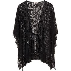 Caya Coco Black Plus Size Open lace kimono jacket (2.535 ARS) ❤ liked on Polyvore featuring outerwear, jackets, cardigans, tops, kimono, black, plus size, boho kimono, plus size kimono and lace kimono