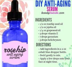Make your own powerful & all natural DIY anti-aging serum with this quick recipe! #AntiAgingSkinCareTips