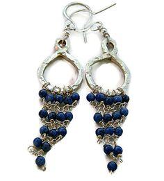 Sodalite  925 Silver Hoop Chandelier Dangle Earrings