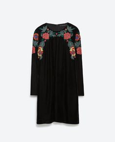 Image 8 of EMBROIDERED VELVET DRESS from Zara