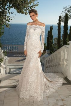 Allover sequinned Alencon lace makes this strapless trumpet gown a timeless piece. Show some shoulder with the matching long sleeve lace jacket.