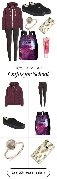 """School"" by stylecooll on Polyvore featuring H&M, Vans, JanSport and Maybelline"