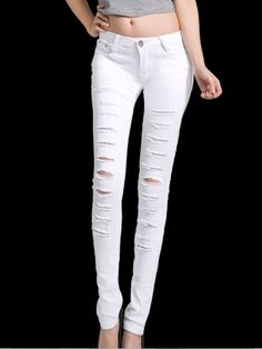 Concise Cotton Jean White Jeans, Sweatpants, Skinny Jeans, Cotton, How To Wear, Fashion Trends, Clothes, White People, Outfit