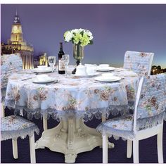 65 - 220cm x 65 - 230cm Table Cloth Square Rectangle Round Tablecloth TV Cover Lace Chair Decorative Set Blue 17 Sizes