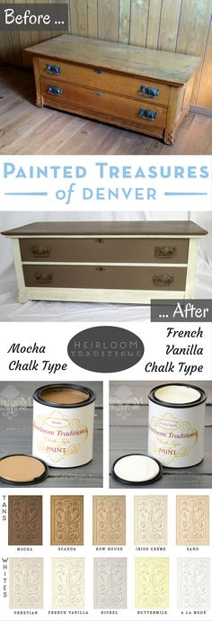 """Gorgeous Neutrals! I repainted this beautiful chest of drawers with Heirloom Traditions Mocha and French Vanilla Chalk Type Paint. Both paint colors you can get  from http://heirloomtraditionspaint.mybigcommerce.com/ with coupon code """"PAINTEDTREASURES"""""""