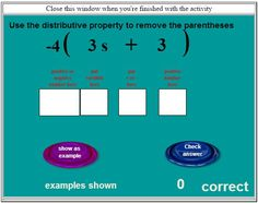 Distributive Property Practice:  Includes practicing with positive and negative numbers.  6.EE.3