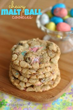 Malt Ball Cookies made with #robinseggs #whoppers You will love how chewy these cookies taste!