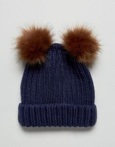 b9718b5688e Boardmans Knitted Beanie Hat With Double Pom Pom - Navy Online Shopping  Clothes