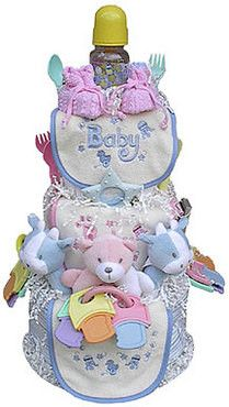 This colorful and fun Triplets 3 Tier Diaper Cake is sure to charm the lucky threesome! Present one as a baby shower gift, or use it as a creative shower centerpiece. Every item in the Diaper Cake is