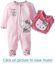 Hello Kitty Baby-Girls Newborn Footed Coverall and Bib #Hello #Kitty #Baby_Girls #Newborn #Footed #Coverall #Bib