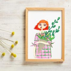 A Girl With Red Hair Print is inspired by Columbia Rd Flower Market in London, full of beautiful flowers and funky people, good coffee & cute puppies, it's