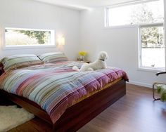 Love the colors in the bedspread + the little white pup! Interior Design Images, Beautiful Interior Design, Modern Bedroom, Bedroom Decor, Little White, Beautiful Bedrooms, Bed Spreads, Design Your Own, Neutral Colors