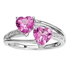 pink heart ring - so sweet - 2 hearts together forever