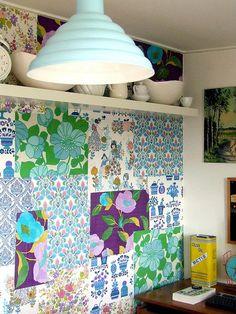 A brilliant idea for vintage wallpaper scraps.