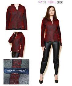 Denim Jacket women 90s clothing red jean 90s jean jacket Rare  Designer clothes Vintage Clothing rocker jacket sexy biker S/M by SixVintageChicks on Etsy
