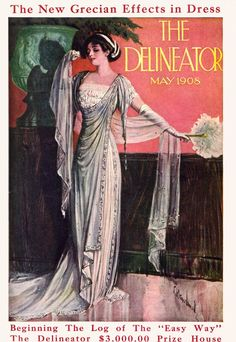 """Delineator May,1908 Woman in classically influenced flowing gown standing by a large urn, to illustrate """"The New Grecian Effects in Dress""""."""