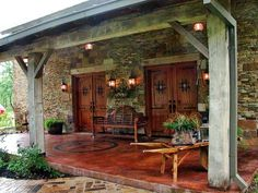 barndominium floor plans | Old dutch barn turned into home and this gorgeous porch was added.
