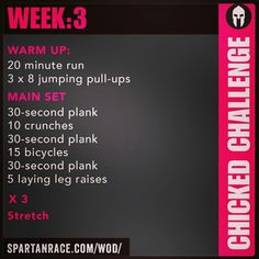 Spartan Training: Chicked Challenge (Week - Elsie Home Warrior Dash Training, Spartan Race Training, Spartan Workout, Navy Training, Amrap Workout, Warrior Workout, Marathon Training, Hiit, Cardio