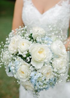 Blue Hydrangea Bouquet|Light Blue & Tan Summer Wedding at the The Variety Works|Photographer: Brandy Angel Photography
