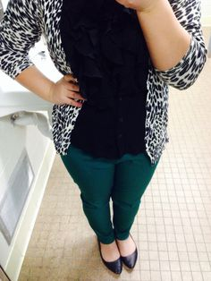 Teal pants, leopard cardi, & black ruffles with black flats