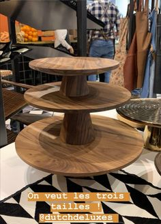 Table basse ronde bois foncé @dutchdeluxes Tiered Cakes, Home, House, Ad Home, Homes, Haus, Bunting Cake Toppers