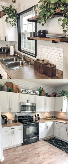 Classic Subway Tile Peel and Stick Backsplash Modern Farmhouse Kitchens, Farmhouse Kitchen Decor, Home Kitchens, Decorating Kitchen, Farm Kitchen Ideas, Diy Kitchen Decor, Farm Style Kitchens, Diy Kitchen Makeover, Remodeled Kitchens