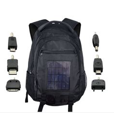 Solar Battery Charger Backpack - 2200mAh, 2.4W Solar Panel                  http://www.chinavasion.com/SolarChargerBackpack/