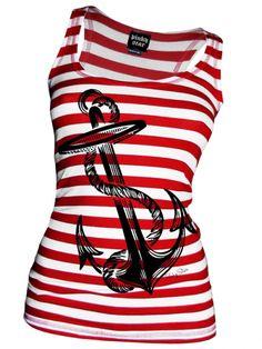 Women's Anchors Aweigh Tank by Pinky Star (White/Red) #inked #inkedshop #inkedmagazine #tank #tanktop