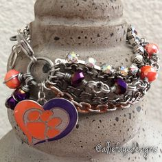 Clemson University  Multichain rhinestones and crystals college charm bracelets by alliefayedesigns