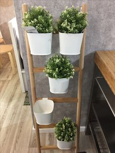 SATSUMAS Plant Stand With 5 Plant Pots Bamboo/white 125 Cm