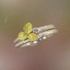Wedding Ring Set Hydrangea Blossom and by PatrickIrlaJewelry, $255.00