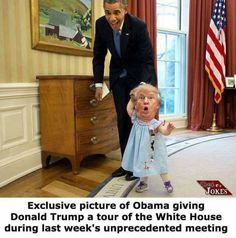 Obama giving Donald Trump a tour of the White House