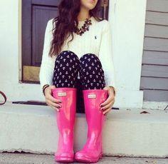 Hunter rain boots #anchor #preppy