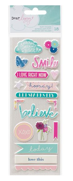 Dear Lizzy - Serendipity Collection - Puffy Stickers - SharBearCrafts