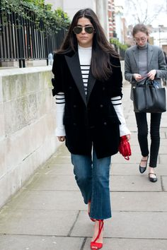 Cropped flares with a striped top, blazer, and red sandals. London.
