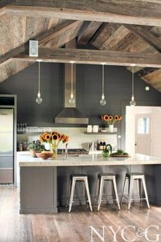 Room of the Day ~ gray and white, small lights, beams, rustic ceiling, alcove for stools - simple and chic design .A 19th-Century Millbrook Farmhouse 2.28.2014 by guida