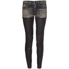 R13 Alison denim and leather jeans ($1,285) ❤ liked on Polyvore featuring jeans, black grey, r13 jeans, grey black jeans, gray jeans, leather denim jeans and leather jeans